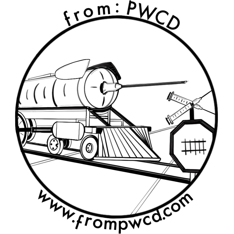 Black and white illustration of a syringe on a train. from: PWCD -